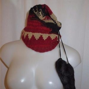 RALPH LAUREN MULTI-DESIGNED KNIT HAT W/FUR ONESIZE